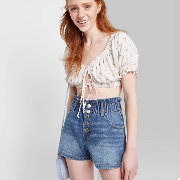 Paperbag waist high-rise shorts